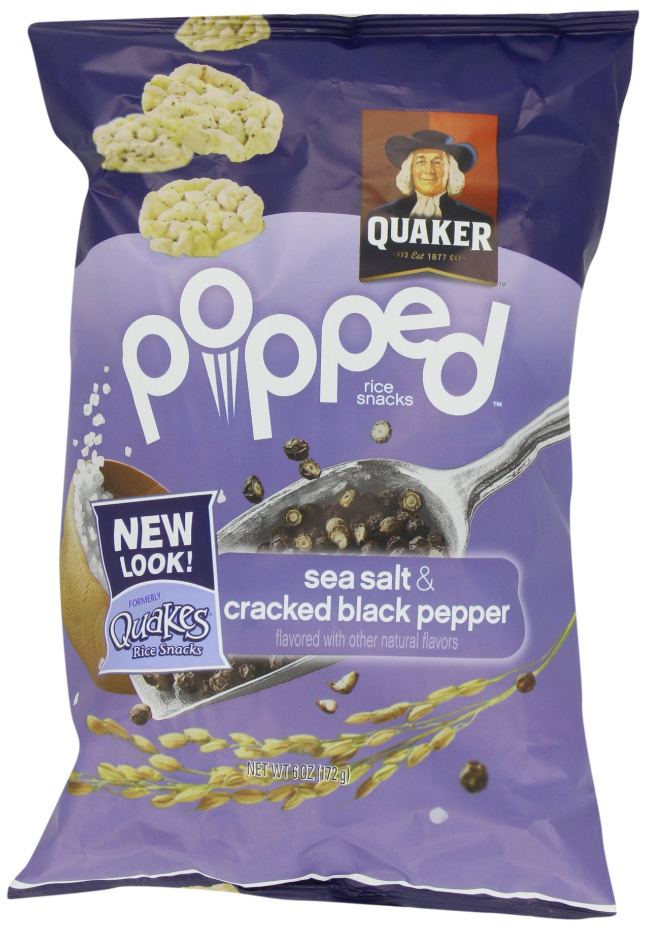 Quaker, Quakes Rice Snacks, Sea Salt and Cracked Black Pepper, 6 oz. (Pack of 4)