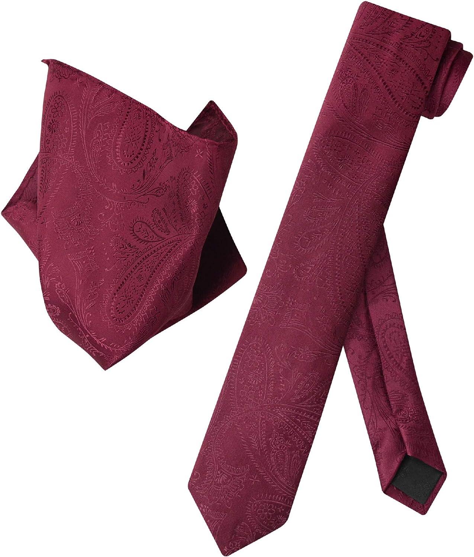"""Vesuvio Napoli Narrow NeckTie Solid RED Color Paisley 2.5/"""" Skinny Men/'s Neck Tie"""