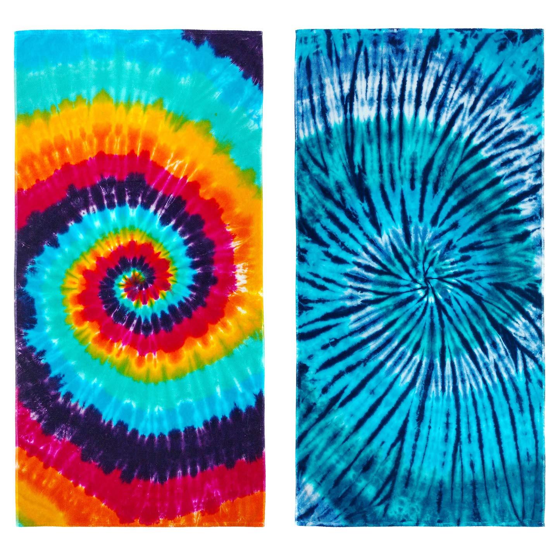 Kaufman - Tie-Dye Velour Beach & Pool Towel Set - 30in x 60in