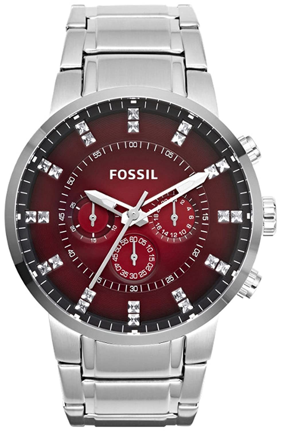 Amazon.com: Fossil Mens Machine FS4696 Silver Stainless-Steel Quartz Watch with Red Dial: Fossil: Watches