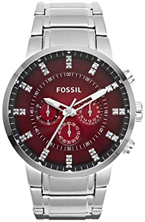 Fossil Mens Machine FS4696 Silver Stainless-Steel Quartz Watch with Red Dial