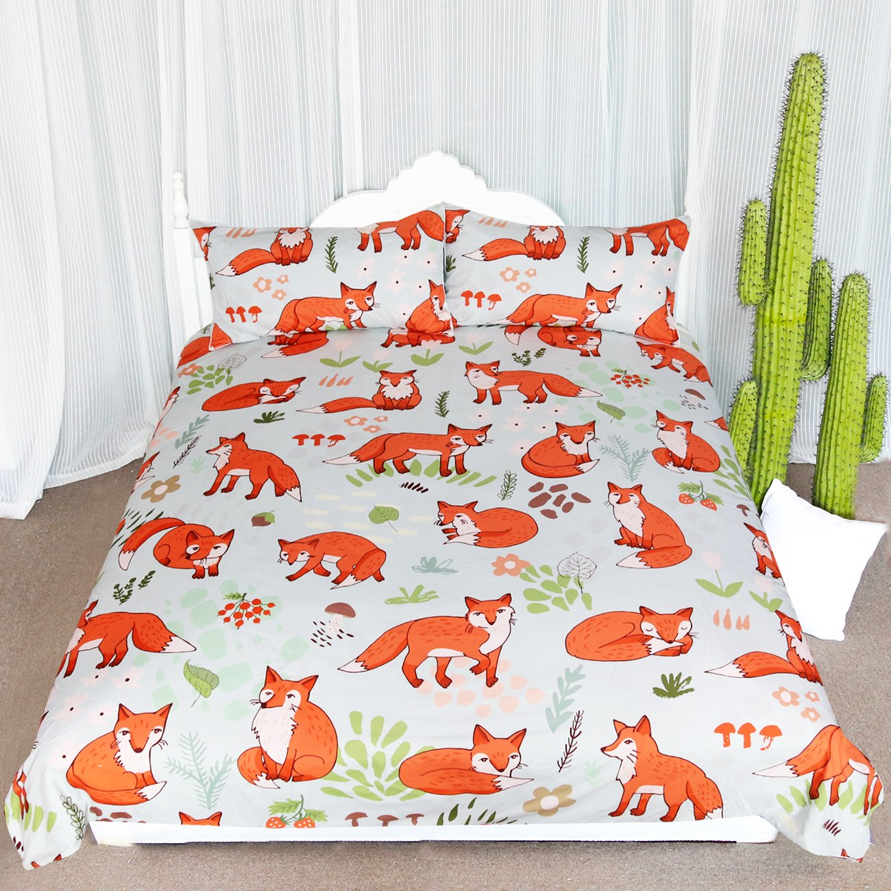 ARIGHTEX Woodland Fox Bedding Cartoon Forest Fruits Duvet Cover Romantic Orange Foxes Comforter Set Kids Nature Duvet Cover (Full)