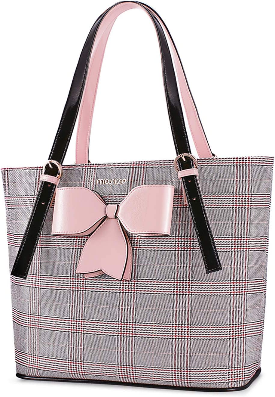 MOSISO Laptop Bag for Women, 15.6 inch Laptop Tote Bag Compatible with MacBook Pro 16 inch A2141 & Notebook, PU Leather Grid Large Capacity Work Business Travel Briefcase Handbag with Bowknot, Pink
