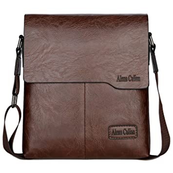 Amazon.com   Alena Culian Shoulder Bag Business Man Bag Messenger Bag for  Men Crossbody Bag(brown)   Messenger Bags 141386538a
