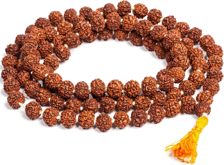 Petrichor Certified Original Rudraksha Mala with Certificate for Wearing and Japa Mala 5 Mukhi Mala, 108 Beads Mala Rosary Garland