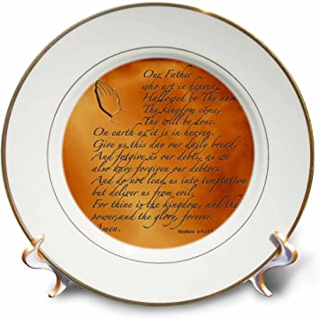 Amazon Com 3drose Llc The Lords Prayer Matthew 6 9 13 Prayer Hands And Verse Embossed On Copper 8 Inch Porcelain Plate Home Kitchen