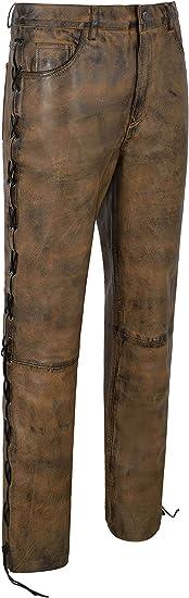 Men/'s Biker Leather Trouser Black Bronze Laced Motorcycle Style 100/% Hide 00126