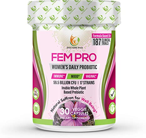 Doctors Pick Womens Probiotic | Based on 187 Clinical Trials – Patent-Pending Organic Prebiotic with Inulin, 59.5 Billion CFU + Saffron for Digestive, Immune, Vaginal, Mood, 30 Vegan Caps