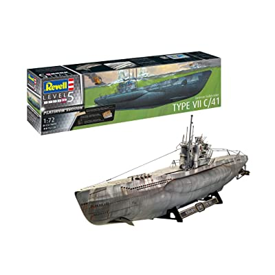 Revell Germany Level 1/72 Germany Naval Submarine Type VIIC / 41 (Premium Edition) Model 05163, RV05163: Toys & Games [5Bkhe1804983]