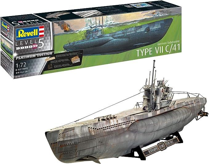 Image of Revell GmbH Revell 05163 5163 Submarino alemán Tipo VII C/41 Platinum (edición Limitada) Kit de Modelo de plástico, Multicolor, 1/72