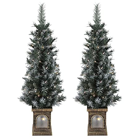 Sparkles Set Of 2 Pre Lit 4ft 120cm Frosted Christmas Xmas Pathway