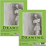 """U.S. Art Supply 9"""" x 12"""" Premium Drawing Paper Pad, 60 Pound (100gsm), Pad of 50-Sheets, Great for all Mixed Media Uses (Pack of 2 Pads)"""