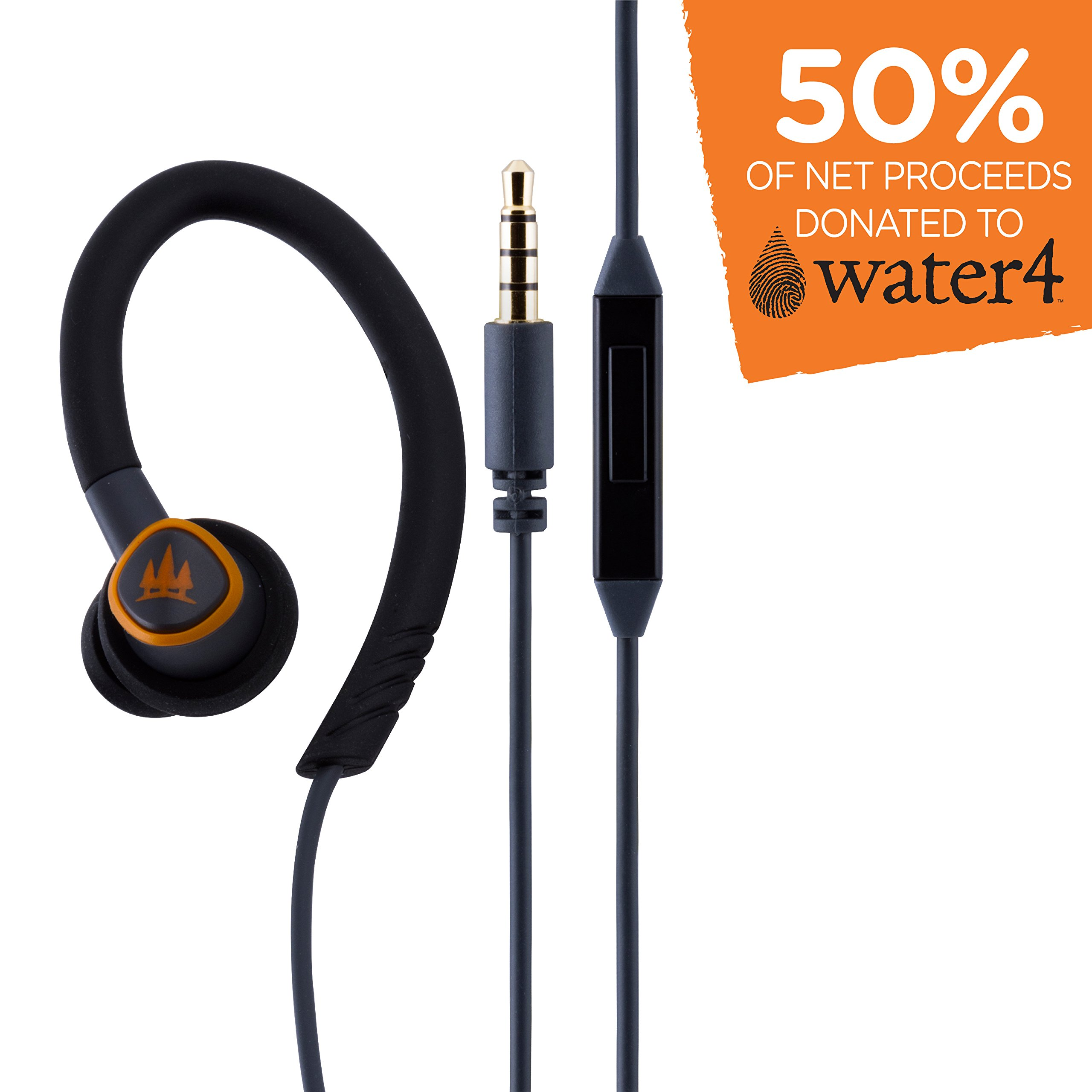 EcoSurvivor IPX4 Sweat Resistant Earbuds with Mic, In-Line Controller, Flexible Ear Loops, 3 Silicone-Gel Cushions, Premium Sound Quality, Great In-Ear Headphones, Outdoors, Gray, 37602 by Eco Survivor