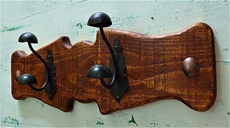 Perchero Rústico, de pared, madera y forja, Perfecto para ...
