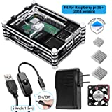 Smraza Raspberry Pi 3 B+ Case with Fan, 5V 2.5A Power Supply, Heatsinks, Micro USB w/On Off Switch, Case for Pi 3B 3 Model B+ Plus(Fits 2018 New Version Pi)