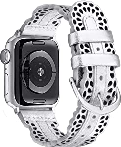 Secbolt Leather Bands Compatible with Apple Watch Band 38mm 40mm iWatch SE Series 6 5 4 3 2 1, Breathable Chic Lace Leather Strap for Women, Silver