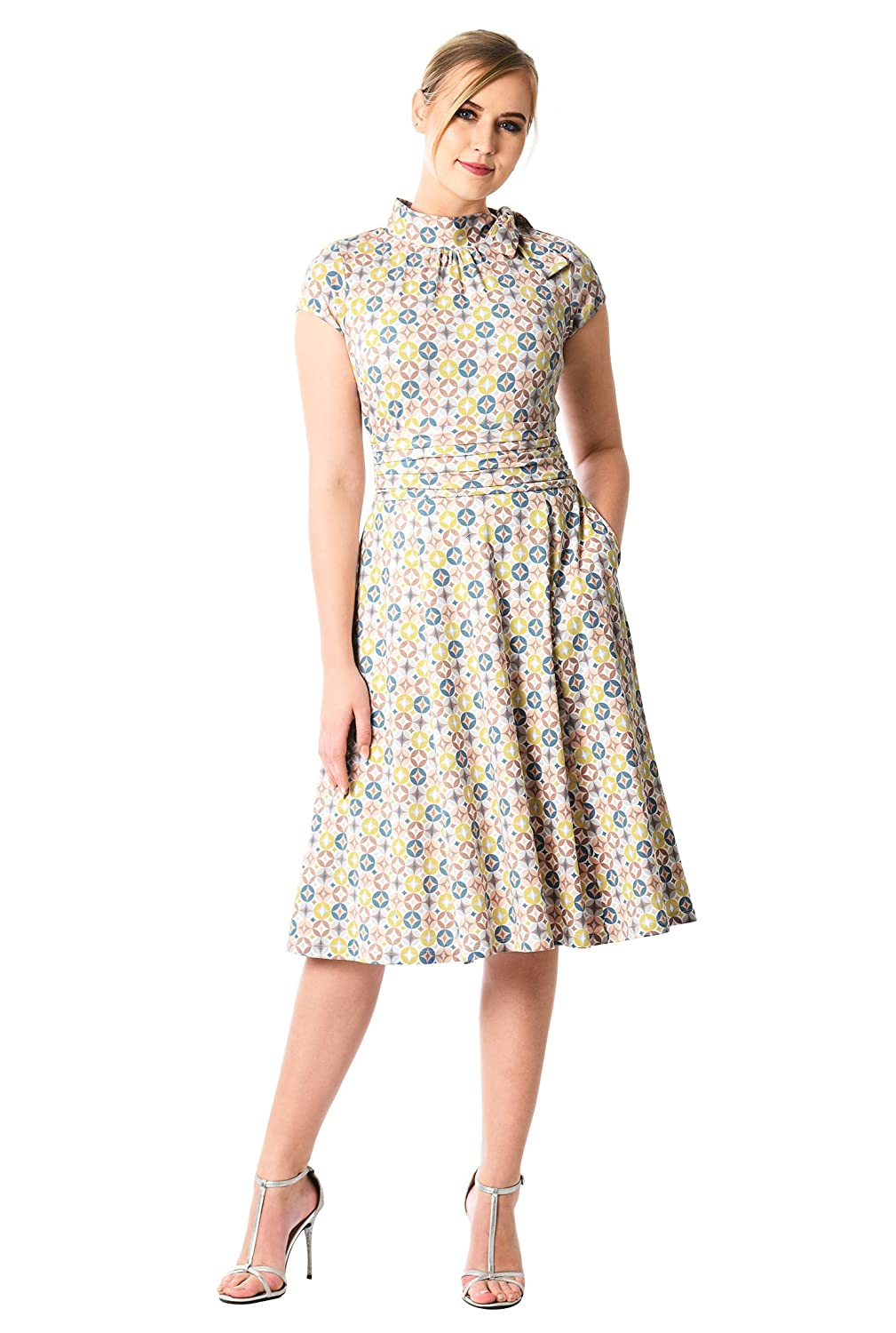Pin Up Dresses | Pin Up Clothing eShakti Womens Bow tie Pleat Waist Graphic Print Cotton Knit Dress $62.95 AT vintagedancer.com