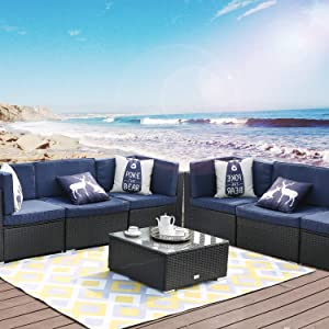 LUCKWIND Patio Conversation Sectional Sofa Chair Table - 7 Piece All-Weather Black Checkered Wicker Rattan Seating Cushion Patio Ottoman Modern Glass Coffee Table Outdoor Accend Pillow 300lbs (Blue)