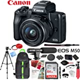 Canon EOS M50 Mirrorless Camera with 4K Video and EF-M 15-45mm Lens Kit (Black) Deluxe 64GB Triple Battery Bundle with Shotgun Mic, Backpack, Tripod and More
