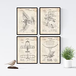Nacnic Prints Vintage Patents Aircraft - Set of 4 - Unframed 8x11 inch Size - 250g Paper - Beautiful Poster Painting for Home Office Living Room