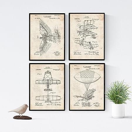 Nacnic Vintage - Pack de 4 Láminas con Patentes de Aviones. Set de Posters con inventos y