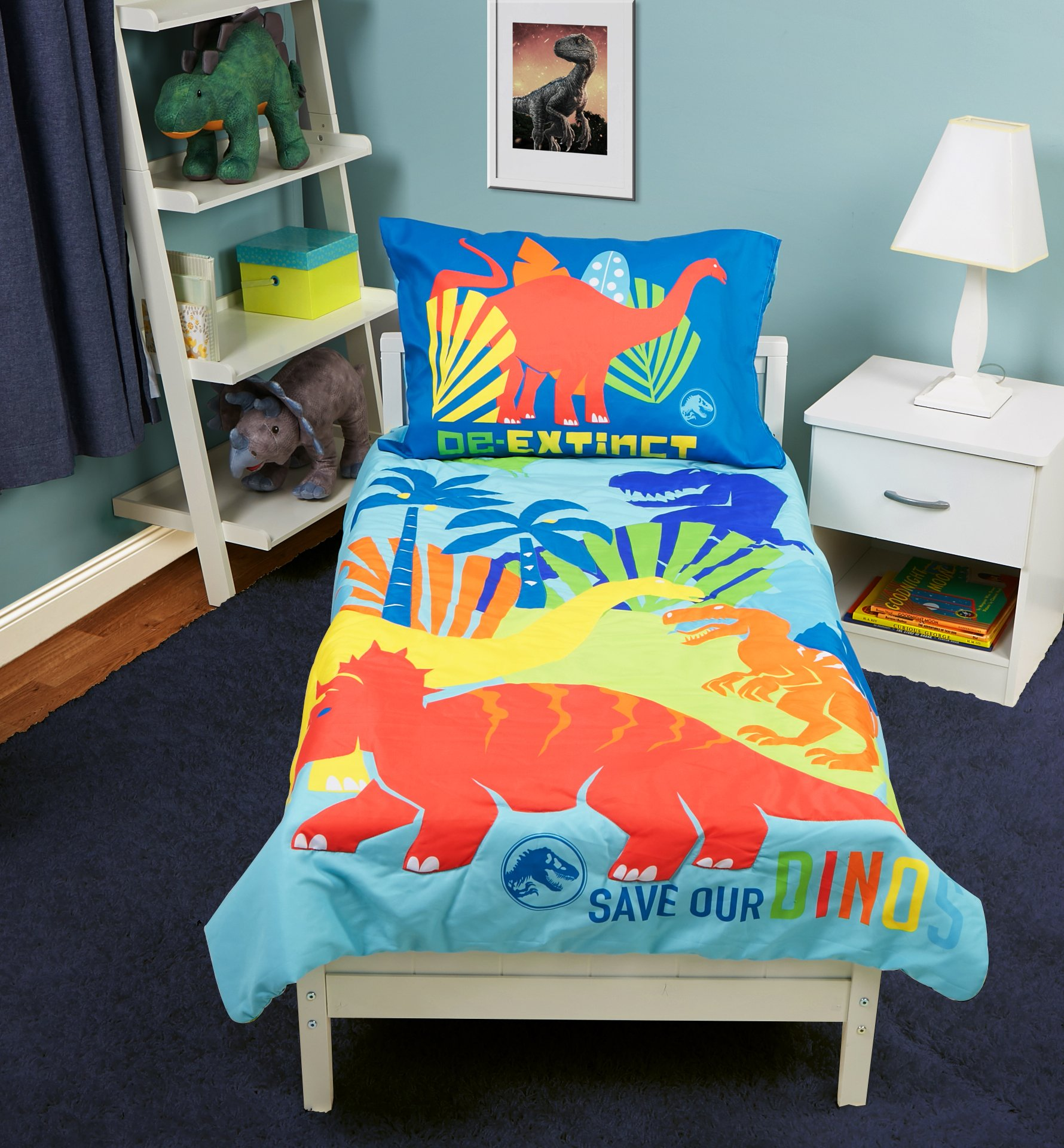 Jurassic World Save Our Dinos 4 Piece Toddler Bed Set, Blue by Jurassic World