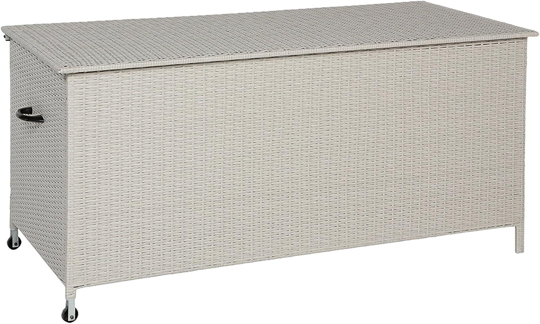 Baúl para jardín resina trenzada, color gris, tamaño: L.166 x D.76 x-PEGANE-H.79 cm: Amazon.es: Hogar