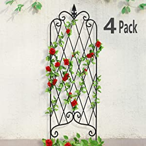 "4 Pack Garden Trellis for Climbing Plants 47"" x 16"" Rustproof Sturdy Black Iron Trellis for Potted Plants Support Lattice Metal Trellises for Climbing Roses Vines Flower Vegetables Cucumber Clematis"