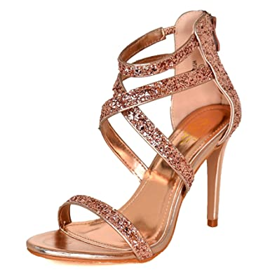 33a4ec01a377 WeHeartShoes Chunky Glitter Stiletto Sandals