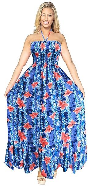 ea06d75954 LA LEELA Soft Printed Womens Casual Tube Dress Halter Royal Blue 308 One  Size