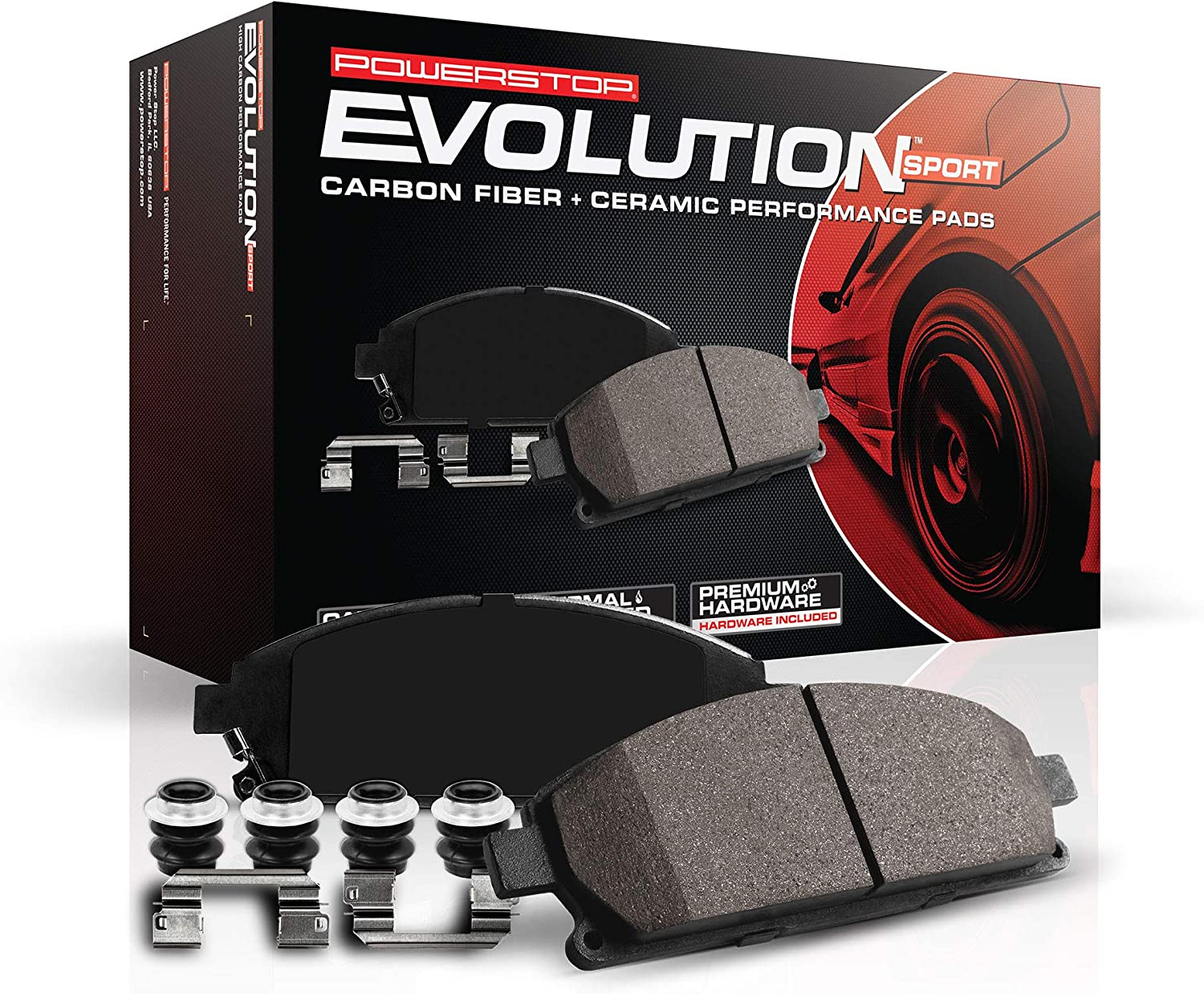 Power Stop Z23-1575 Front Z23/ Evolution/ Sport Carbon Fiber-Ceramic Brake Pads with Hardware