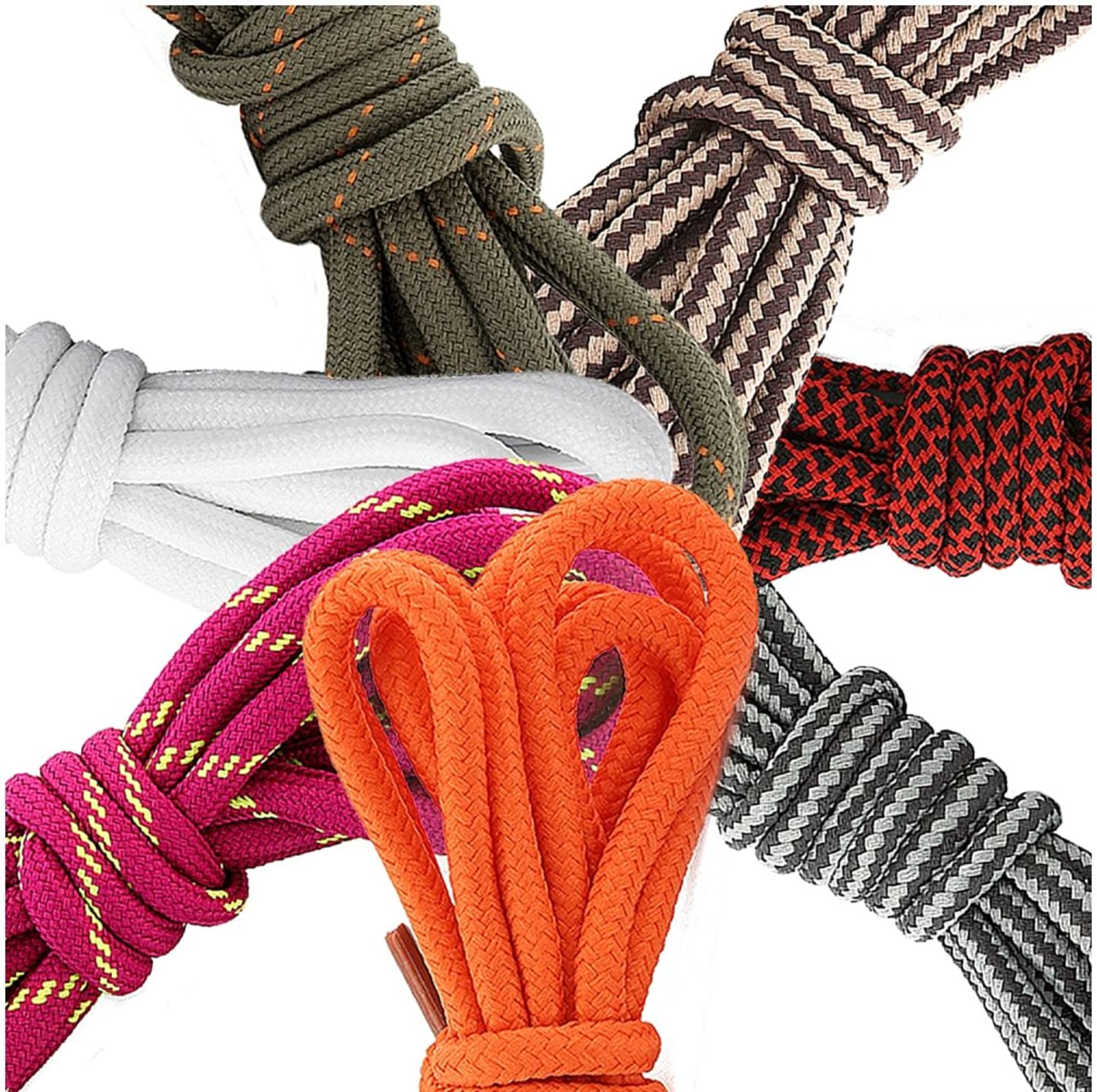 (7 PACK PAIRS) DailyShoes Round Hiking Shoelaces, Strong Durable, Becoming Malaki
