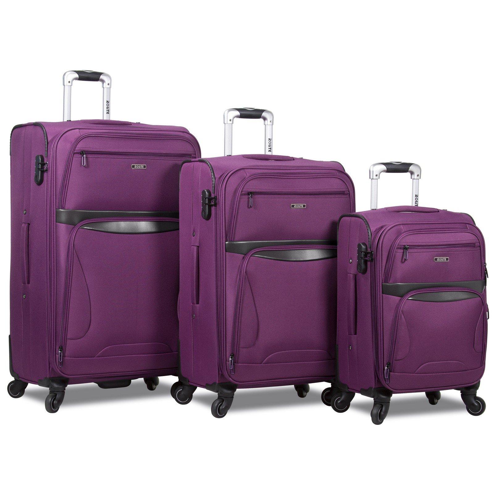 Rolite Explorer 3-Piece Expandable Spinner Luggage Set, Purple