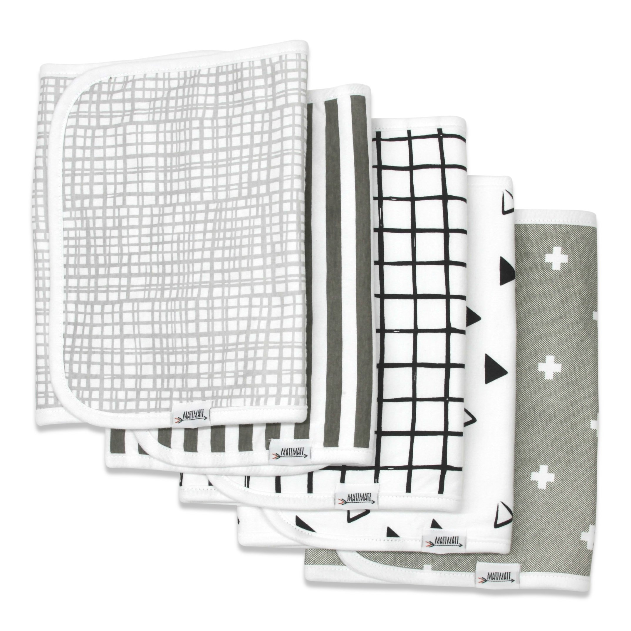 """Burp Cloths for Boys & Girls by Matimati Baby, Extra Large 21""""x10"""" & Super Absorbent Burp Cloth Set of 5, Keep Baby's & Parent's Clothes Dry, Excellent Gift """"Monochrome''"""