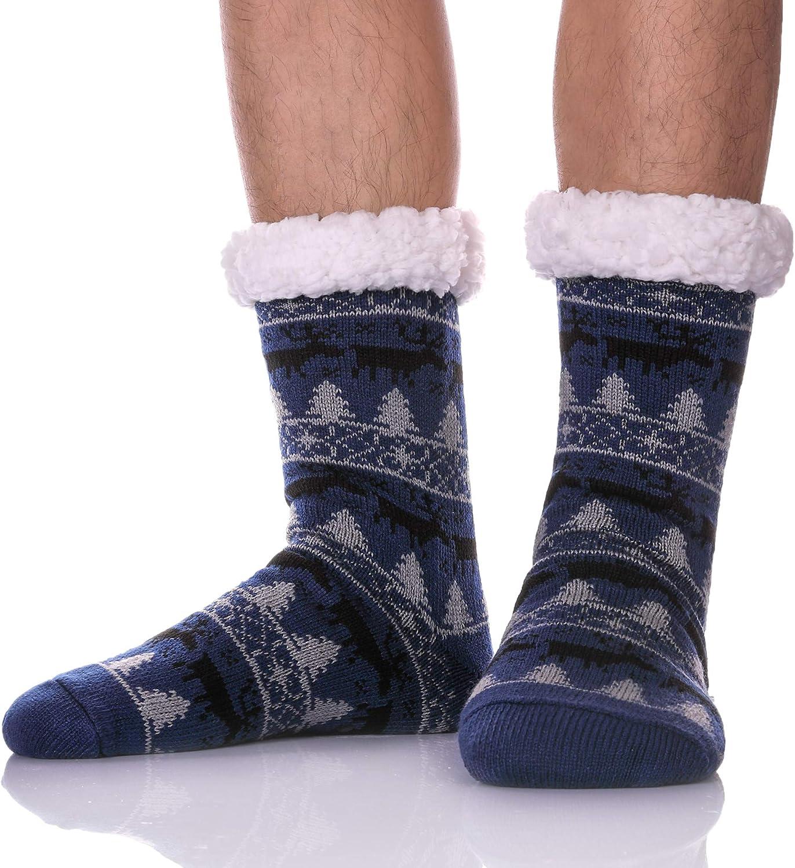 MSMETRO Mens Fuzzy Slipper Socks Super Soft Thick Warm Fleece Lining Knit Non Slip Thermal Winter Home Socks