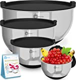 Premium Stainless Steel Mixing Bowls With Non Slip Bottom and Lids (Set of 4). Sizes- 8, 5, 3, 1.5 QT. For Healthy Meal. Nesting & Stackable. With Special Free Bonus- Enjoy Decorated Recipe Book