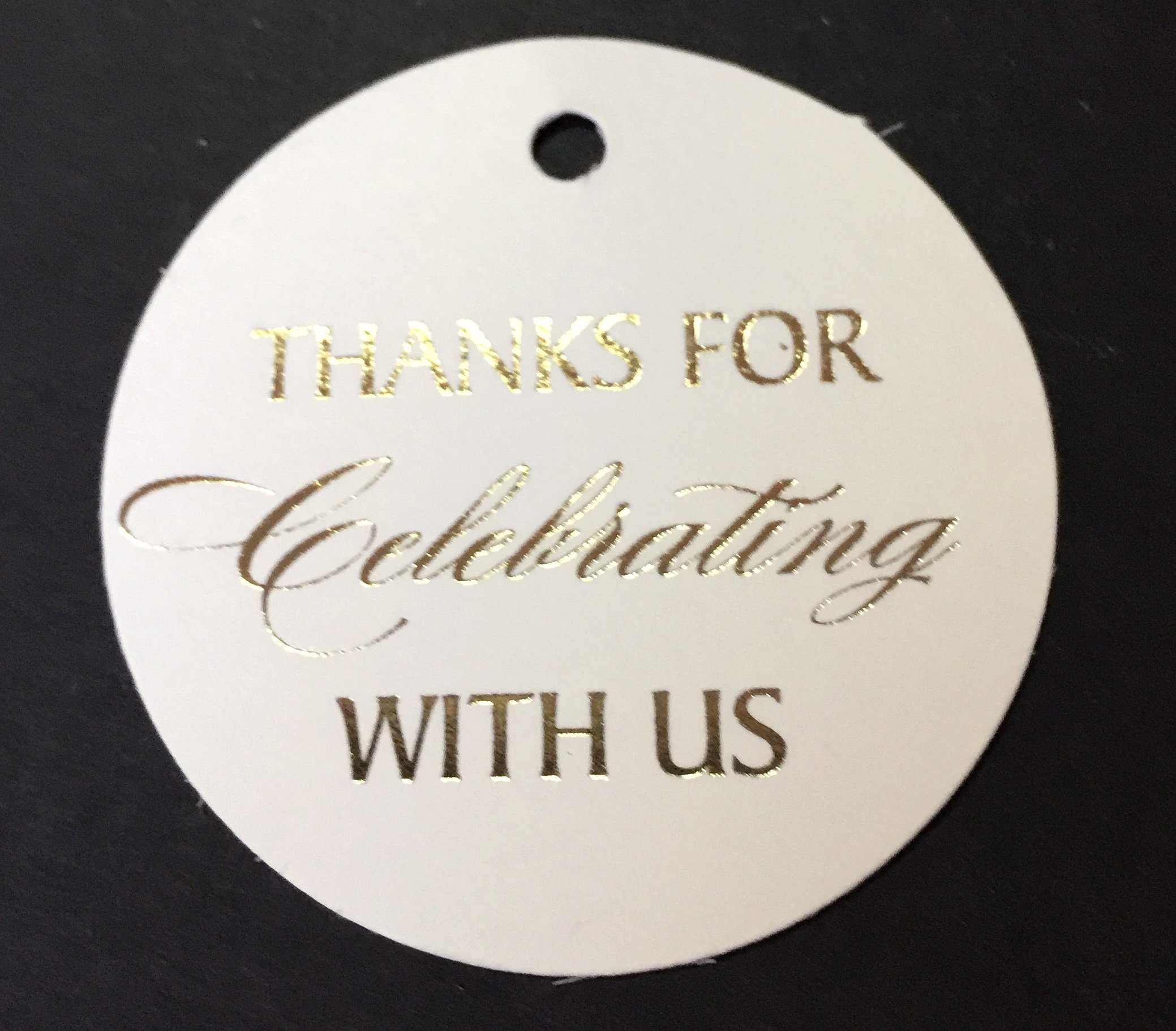 Gift Tags White Gold Foil, Thank You Tags, 30-Pack, Wedding Tags, Paper Tags, Circle Tags, Off-White Paper, for Baby, 16 Birthday Or Wedding Decor. (Golden3)