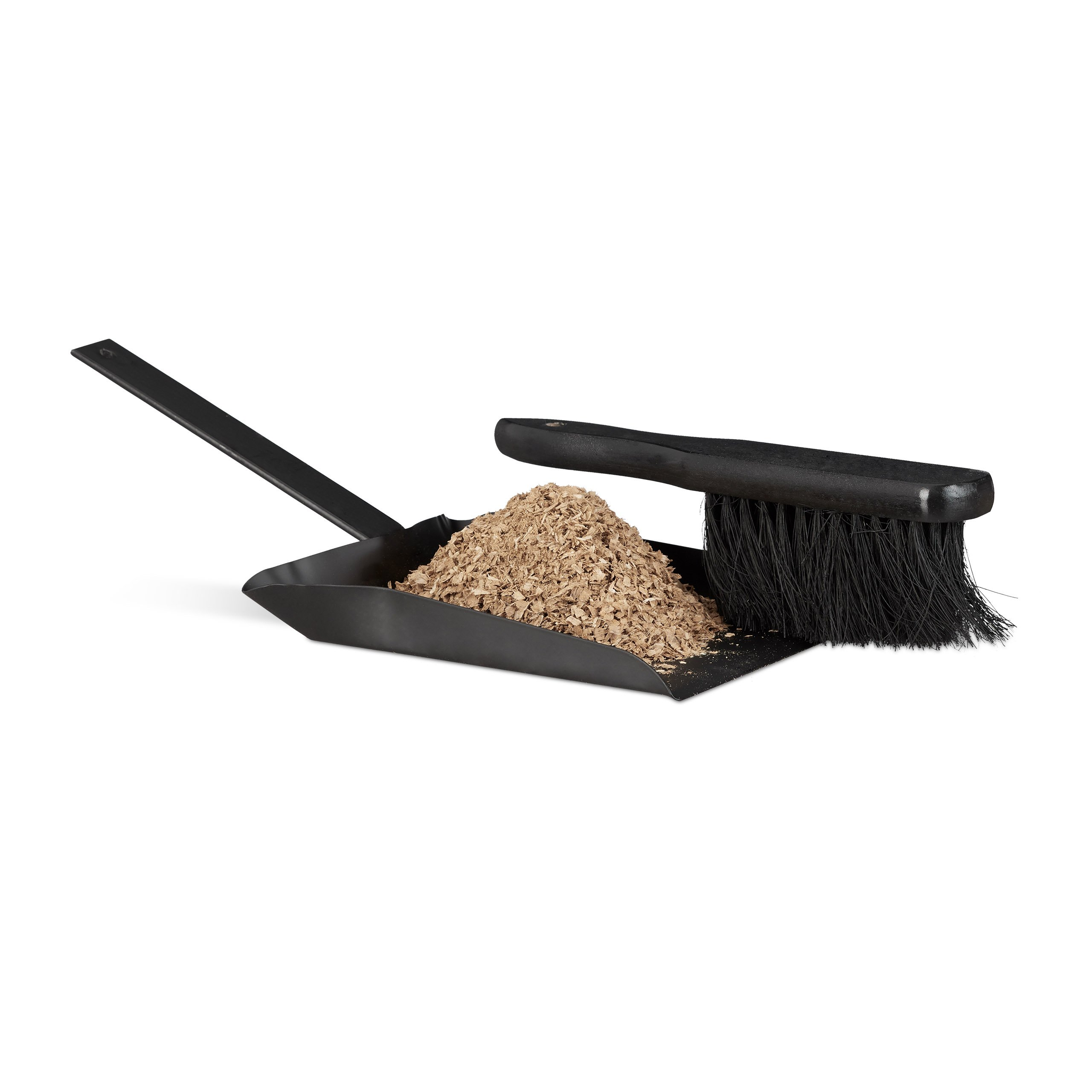 Relaxdays Dustpan and Brush Set, 37 cm, Steel, Sweeping Set with Broom, Eyelet, Outdoor and Indoor, Black