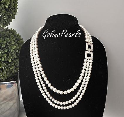 Triple Strand Handmade SWAROVSKI Crystal White Pearl Necklace,925 Sterling Silver Cubic Zirconia Pendant Clasp.