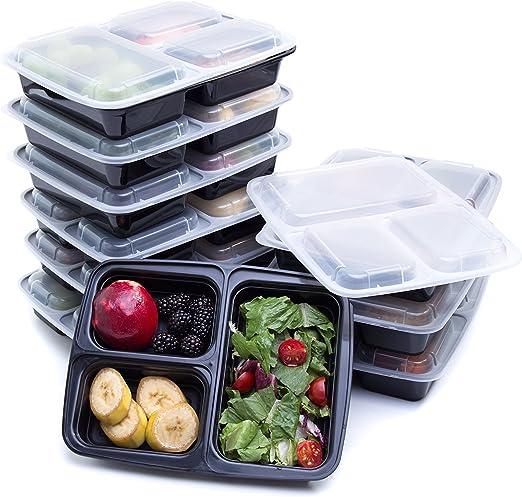 Plástico Comida Prep recipientes con 3 compartimentos de Ava: La ...