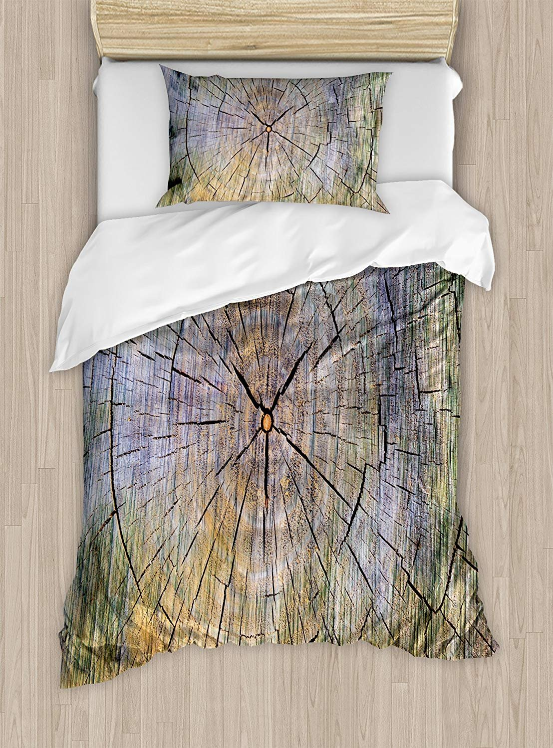 Fantasy Star Twin Bedding Set,Rustic Duvet Cover Set,Annual Rings of Wood Growth Aging Theme Dirty Inner Tree Body Branch Whorls Width Design,Include 1 Flat Sheet 1 Duvet Cover and 2 Pillow Cases