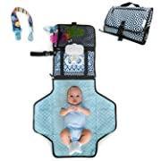 HobbyBooby Portable Changing Pad - Travel Diaper Change Pad - Cushioned and Waterproof Pad - Travel Station Mat Kit for Baby Diapering- Infants Baby Changing Portable Mat