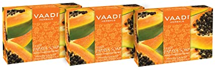Value Pack of 3 Natural Fresh Papaya Soap (75 gms x 3) Anti ...