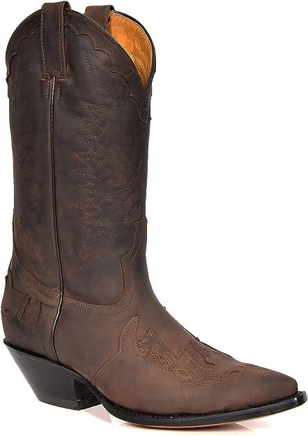 Stivali western Boots Texani Grinders marrone vera pelle