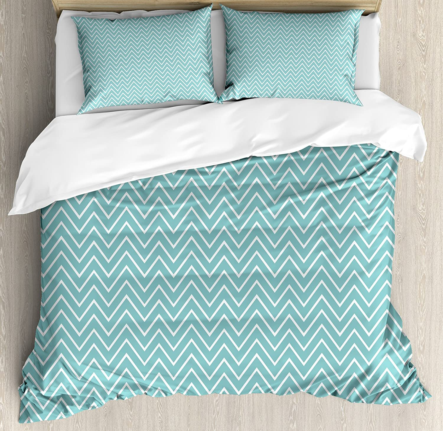 Ambesonne blue duvet cover set king size ocean sea wave like zig zag lines for minimalist kitchen teen living room decorative 3 piece bedding set with 2