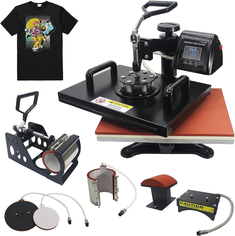 RoyalPress 5 in 1 Heat Press 13″ x 18″ Color LED Professional Sublimation Multifunction Combo Heat Press Machine