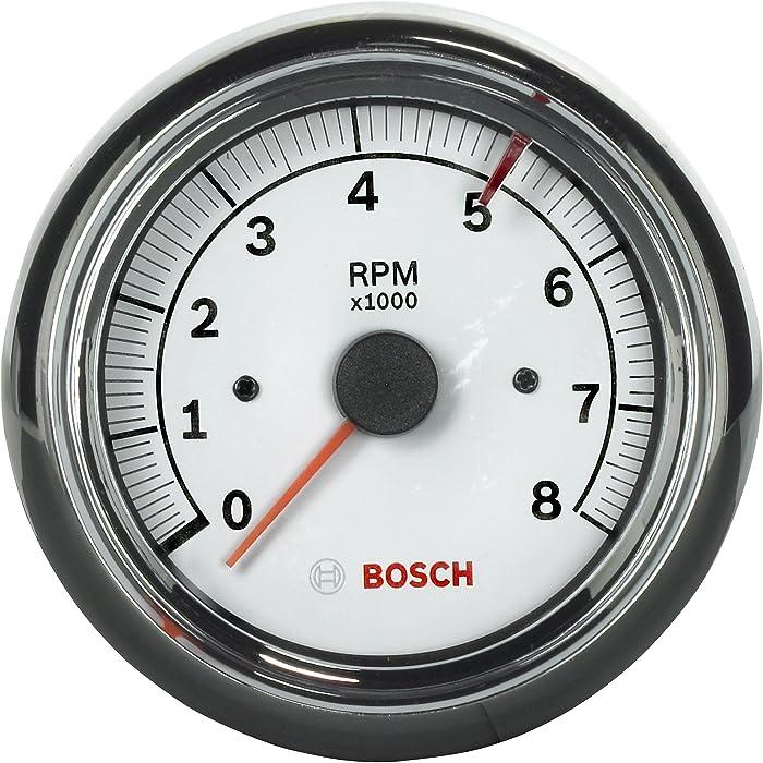 "Bosch SP0F000020 Sport II 3-3/8"" Tachometer (White Dial Face, Chrome Bezel)"