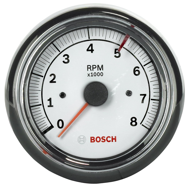 Bosch SP0F000020 Sport II 3-3//8 Tachometer White Dial Face, Chrome Bezel