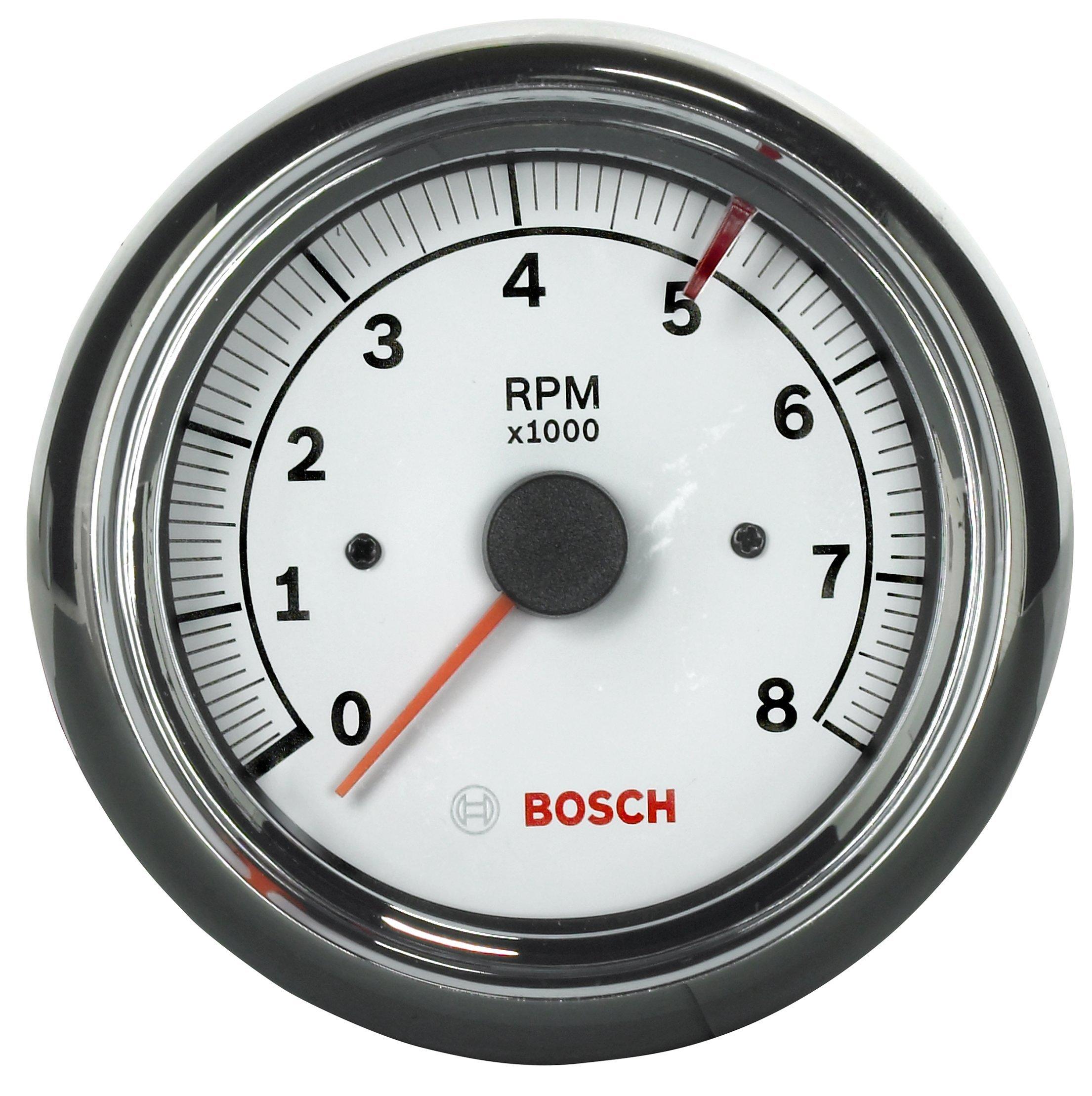 Bosch SP0F000020 Sport II 3-3/8'' Tachometer (White Dial Face, Chrome Bezel) by Bosch Automotive