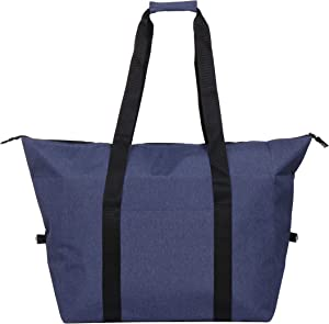 Macks.i Large Insulated Cooler Bag, Tote Bag with Zipper Dual Handles, Front Pocket, Insulated Grocery Bag, Travel Cooler, Picnic Cooler (XL, Navy)
